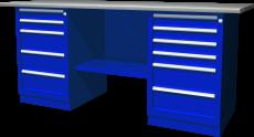 Верстак с двумя тумбами — тумба с 5 ящиками — тумба с 6 ящиками, 1900х686х845 мм