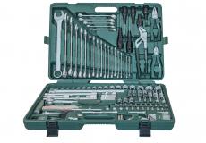 """Универсальный набор торцевых головок 1/4""""DR 4-13 мм и 1/2""""DR 8-32 мм, комбинированных ключей 6-32 мм и отверток, 128 предметов"""
